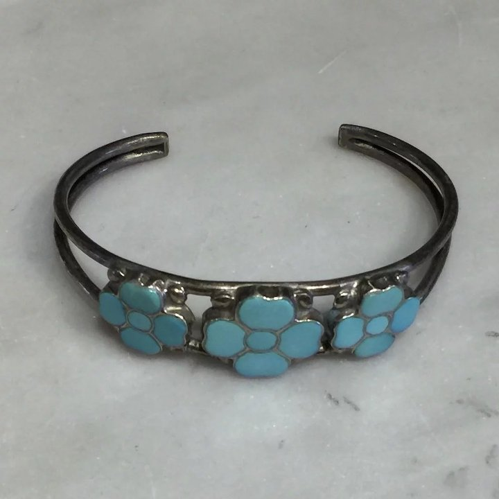 Zuni Turquoise Cuff Bracelet Native Indian Market Ruby Lane