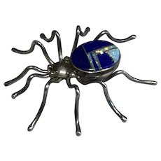 Spider Pin with Lapis and Opal
