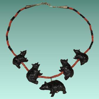 Zuni Style Black Bear Fetish Necklace