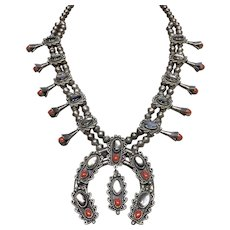 1970's Coral and Abalone Squash Blossom Necklace