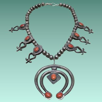 Vintage 1960's Coral and Silver Squash Blossom Necklace