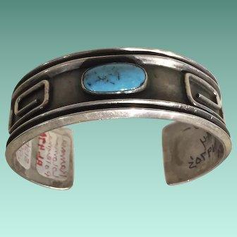 Silver and Turquoise Bracelet by Ramona Loloma Poleyma