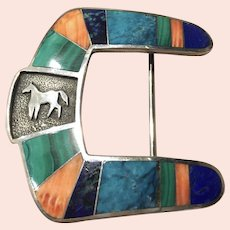Ben Nighthorse Silver and Multicolor Inlay Belt Buckle