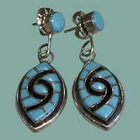 Turquoise Inlay Earrings by Amy Quandelacy
