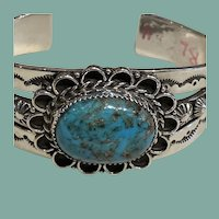 Sterling Silver Bracelet with Large Turquoise Stone