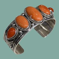 Navajo Silver and Coral Bracelet
