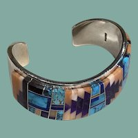 Multicolor Inlay and Sterling Silver Bracelet