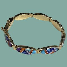Gold Link Bracelet with Multicolored Stones
