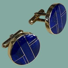 14K Gold and Lapis Cufflinks by Ray Tracey