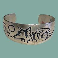 Hopi Style Bracelet with Wolf Design