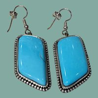 Turquoise and Silver Earrings by J and I  Livingston