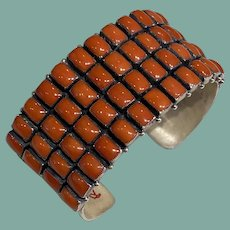 Coral and Silver Bracelet by Don Lucas