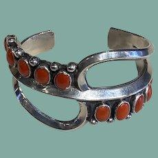 Silver and Coral Sandcast Bracelet
