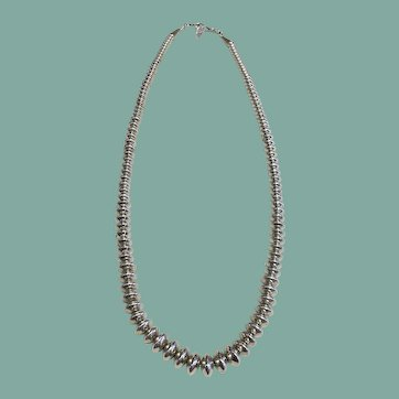 Silver Bead Necklace (Navajo Beads)