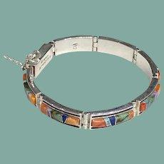 Multicolor Inlay Link Bracelet