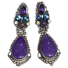 Sugilite Earrings by Leo Feeney