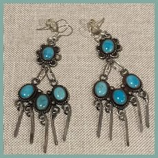 Vintage Native American Style Turquoise Earrings