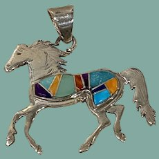 Multicolored Inlay Horse Pendant