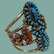 Kingman Turquoise and Coral Bracelet