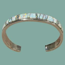 Opal Inlay and Sterling Silver Bracelet