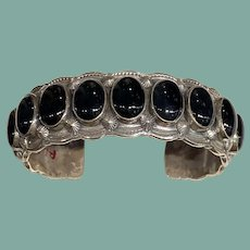 Navajo Bracelet of Onyx and Silver