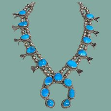 Blue Gem Turquoise Squash Blossom Necklace