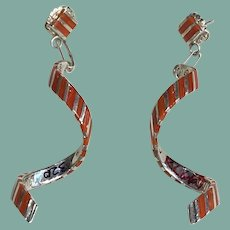 Contemporary Coral and Silver Earrings