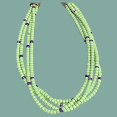 Lemon Chrysophrase and Sugilite Necklace