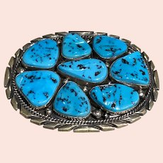 Turquoise and Silver Belt Buckle