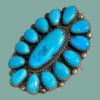 Turquoise and Silver Cluster Ring