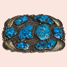 1970's Silver, 14K Gold and Turquoise Belt Buckle