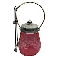 Victorian Cranberry Glass Inverted Thumbprint Pickle Castor