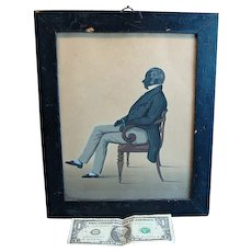 Very Fine Antique Folk Art Silhouette Watercolor Man Sitting Ca 1800
