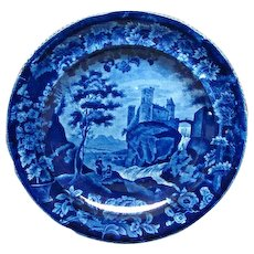 Dark Blue Historical Staffordshire Plate Vue d'une Ancienne Abbaye from the French Series by Enoch Wood, c. 1825-30