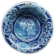Staffordshire Transferware Dark Blue Wash Bowl Ca 1830