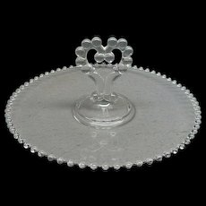 """Imperial Glass Candlewick 11 1/2"""" Party Serving Tray With Center Heart Handle"""