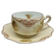 Silesia Ohme Old Ivory Cup and Saucer #84 Mint Condition
