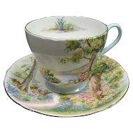 Vintage Shelley Bone China Woodland Cup & Saucer