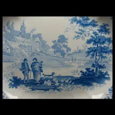 "18 1/2"" English Turner Transferware Platter & Drainer Ca 1790"