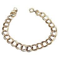 Vintage Double Link Gold Filled Starter Charm Bracelet