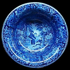 """12"""" Blue American Historical Staffordshire Wash Bowl Lafayette at Franklin's Tomb"""