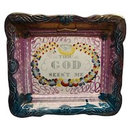 Sunderland Pink Luster Motto Plaque Thou God Sees't Me Ca 1830