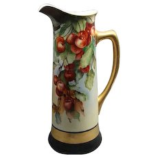 "15"" Jean Pouyat Limoges Porcelain Tankard Pitcher With Cherries & Leaves"