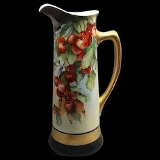 """15"""" Jean Pouyat Limoges Porcelain Tankard Pitcher With Cherries & Leaves"""