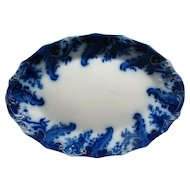"17 1/4"" Antique Flow Blue Turkey Platter Argyle By Grindley Gold Highlights"