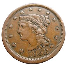 1853 Braided Hair Large US Cent Coin Extra Fine Die Error on Back Estate Find