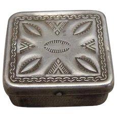 Native American Sterling Silver Stamp Box Ca 1900 - 1910