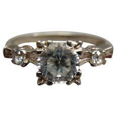 Vintage Ladies 10k White Gold Sapphire Ring Size 5.5