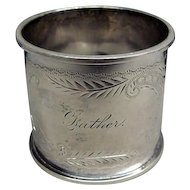 Bright Cut Victorian Coin Silver Napkin Ring Engraved Father