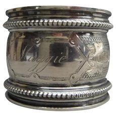 Fancy Victorian Silver Plate Napkin Ring Maggie